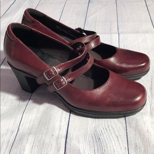 Clark's Bendables Red Leather Mary Janes with Heel